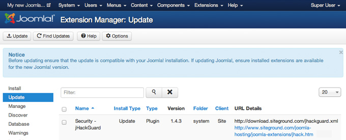 how to update joomla extensions